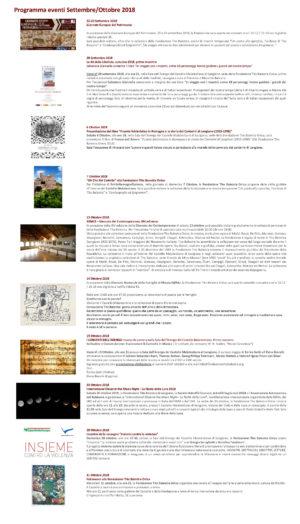 IL PROGRAMMA DEGLI EVENTI DI SETTEMBRE E OTTOBRE ALLA FONDAZIONE TITO BALESTRA ONLUS