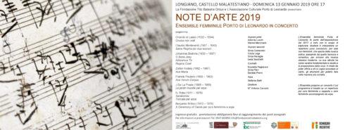 """NOTE D'ARTE 2019 – L' Ensemble femminile """"Porto di Leonardo"""" in concerto"""